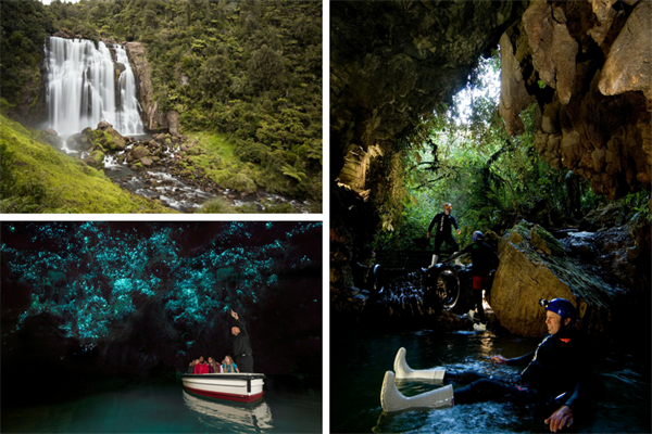 The Waitomo Caves: The Glowworms, Black water rafting, abseil and many more !!